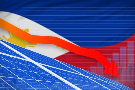 Philippines solar energy power lowering chart, arrow down  - environmental energy industrial illustration. 3D Illustration Stok Fotoğraf