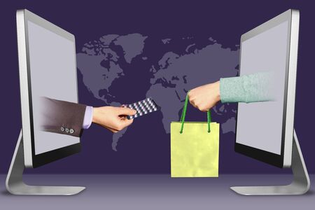 commerce concept, hands from computers. hand with medicine pills  and hand with shopping bag . 3d illustration