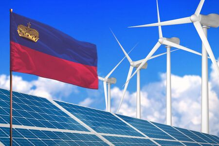 Liechtenstein solar and wind energy, renewable energy concept with windmills - renewable energy against global warming - industrial illustration, 3D illustration