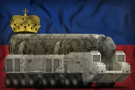 intercontinental ballistic missile with city camouflage on the Liechtenstein flag background. 3d Illustration Stok Fotoğraf
