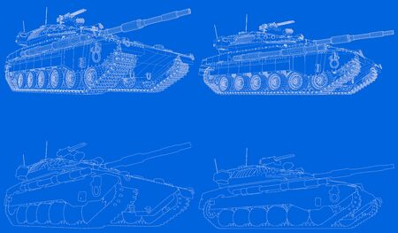 drawn schema of outlined isolated 3D army tank with not real design, highly detailed patriotic concept - military 3D Illustration