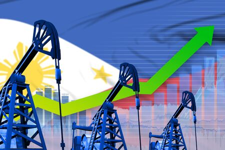 Philippines oil industry concept, industrial illustration - growing graph on Philippines flag background. 3D Illustration