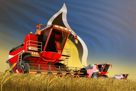 industrial 3D illustration of agricultural combine harvester working on rural field with Saint Lucia flag background, food production concept
