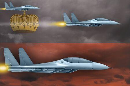 Liechtenstein air strike concept. Modern war airplanes attack on Liechtenstein flag background. 3d Illustration