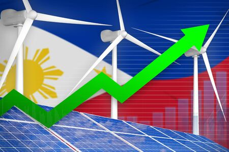 Philippines solar and wind energy rising chart, arrow up  - green energy industrial illustration. 3D Illustration