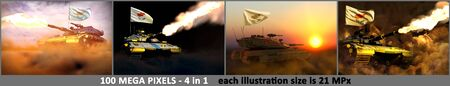 4 illustrations of very high resolution modern tank with not real design and with Cyprus flag - Cyprus army concept, military 3D Illustration Stok Fotoğraf