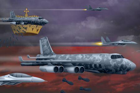 Liechtenstein bomb air strike concept. Modern Liechtenstein war airplanes bombing on flag background. 3d Illustration