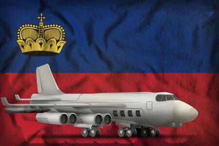 bomber on the Liechtenstein flag background. 3d Illustration Stok Fotoğraf