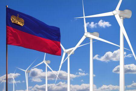 Liechtenstein alternative energy, wind energy industrial concept with windmills and flag - alternative renewable energy industrial illustration, 3D illustration Stock Illustration - 138546664