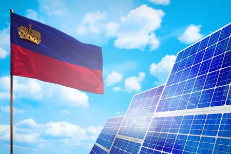 Liechtenstein alternative energy, solar energy concept with flag - symbol of fight with global warming - industrial illustration, 3D illustration Stock Photo