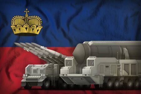 rocket forces on the Liechtenstein flag background. Liechtenstein rocket forces concept. 3d Illustration
