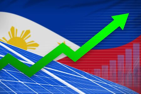 Philippines solar energy power rising chart, arrow up  - renewable energy industrial illustration. 3D Illustration