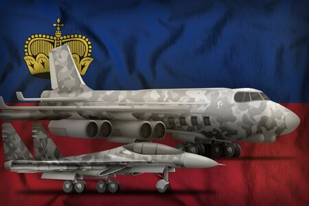 air forces with grey camouflage on the Liechtenstein flag background. Liechtenstein air forces concept. 3d Illustration Stok Fotoğraf