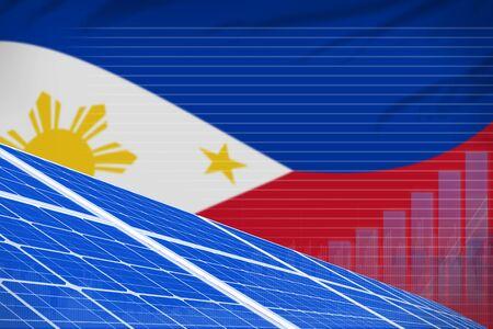 Philippines solar energy power digital graph concept  - modern energy industrial illustration. 3D Illustration