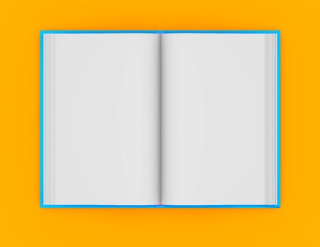 cute high detail blue book fully open, knowledge day concept isolated on orange background - object 3d illustration