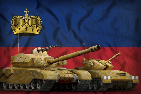 tanks with orange camouflage on the Liechtenstein flag background. Liechtenstein tank forces concept. 3d Illustration