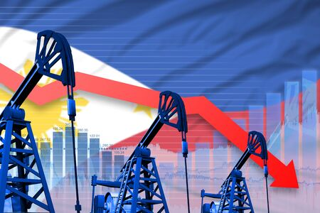 Philippines oil industry concept, industrial illustration - lowering, falling graph on Philippines flag background. 3D Illustration