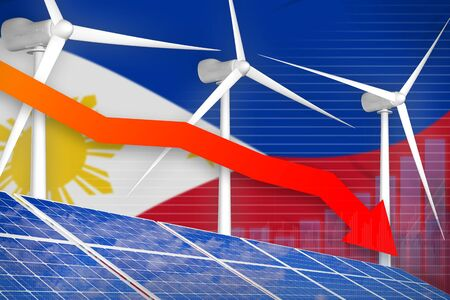 Philippines solar and wind energy lowering chart, arrow down  - environmental energy industrial illustration. 3D Illustration