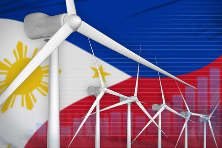 Philippines wind energy power digital graph concept  - environmental energy industrial illustration. 3D Illustration