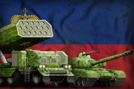 tank and rocket launcher with summer pixel camouflage on the Liechtenstein flag background. Liechtenstein heavy military armored vehicles concept. 3d Illustration