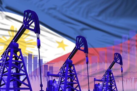 Philippines oil and petrol industry concept, industrial illustration on Philippines flag background. 3D Illustration