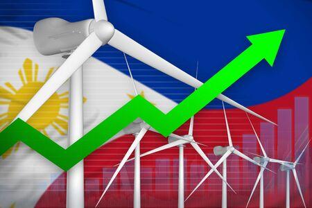 Philippines wind energy power rising chart, arrow up  - alternative energy industrial illustration. 3D Illustration