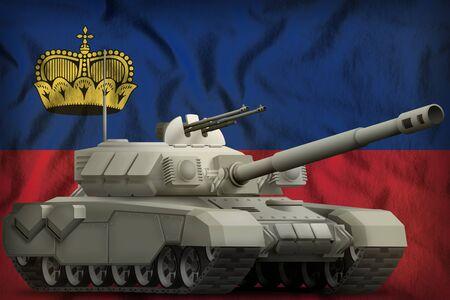 heavy tank on the Liechtenstein flag background. 3d Illustration Stok Fotoğraf