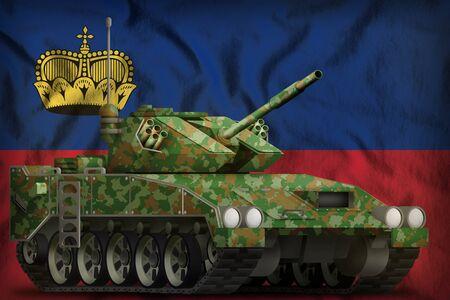 light tank apc with summer camouflage on the Liechtenstein flag background. 3d Illustration