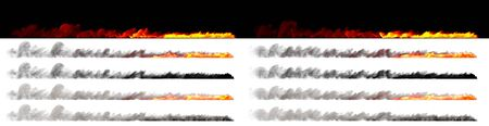 Speed concept - Isolated flames on trail of fast moving object rendered with white and black smoke on various backgrounds, 3D illustration of objects Фото со стока