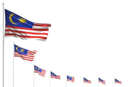 pretty any holiday flag 3d illustration  - many Malaysia flags placed diagonal isolated on white with place for text Stok Fotoğraf