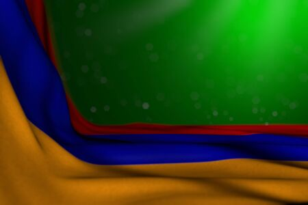 cute any holiday flag 3d illustration  - dark illustration of Armenia flag lay diagonal on green background with soft focus and empty place for your content