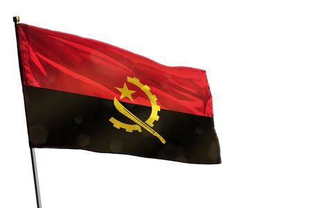 Fluttering Angola flag isolated on white background.