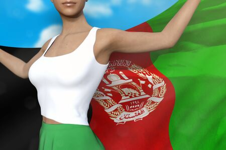 beautiful lady in bright skirt is holding Afghanistan flag in her hands behind her on the cloudy sky background - flag concept 3d illustration