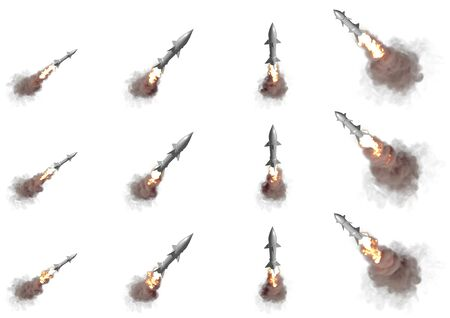 supersonic warheads flying in the air isolated on white background - modern strategic nuclear rocket weapons concept 12 different renders, military 3D Illustration