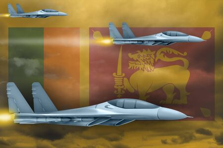 Sri Lanka air strike concept. Modern war airplanes attack on Sri Lanka flag background. 3d Illustration