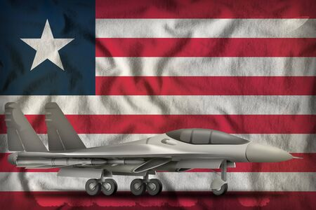 fighter, interceptor on the Liberia flag background. 3d Illustration 免版税图像