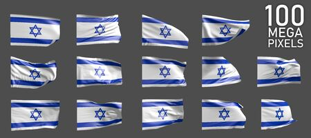 many different realistic renders of Israel flag isolated on grey background - 3D illustration of object