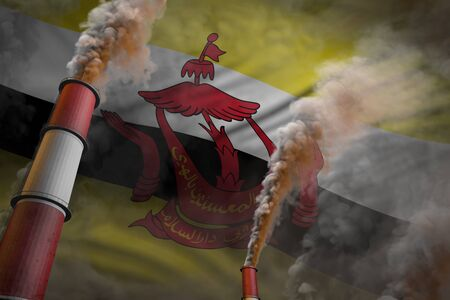 Pollution fight in Brunei Darussalam concept - industrial 3D illustration of two large plant pipes with heavy smoke on flag background