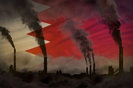 Dark pollution, fight against climate change concept - industrial 3D illustration of industry chimneys dense smoke on Bahrain flag background
