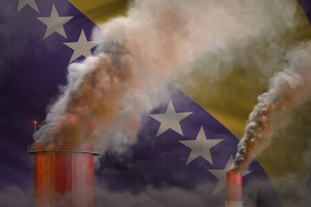 dense smoke of industry chimneys on Bosnia and Herzegovina flag - global warming concept, background with space for your text - industrial 3D illustration Stock Photo