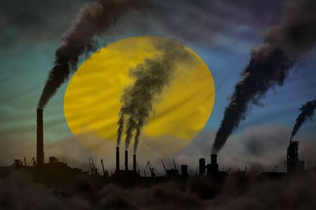 heavy smoke of industrial pipes on Palau flag - global warming concept, background with space for your logo - industrial 3D illustration