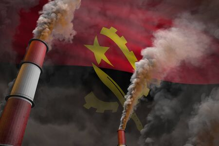 Pollution fight in Angola concept - industrial 3D illustration of two huge industry pipes with dense smoke on flag background Stock Photo