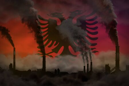 Dark pollution, fight against climate change concept - industry chimneys dense smoke on Albania flag background - industrial 3D illustration