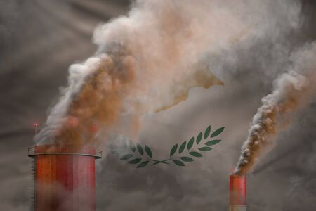 dense smoke of factory pipes on Cyprus flag - global warming concept, background  - industrial 3D illustration