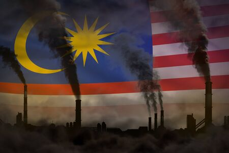 Dark pollution, fight against climate change concept - industrial 3D illustration of factory chimneys heavy smoke on Malaysia flag background