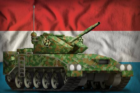 light tank apc with summer camouflage on the Luxembourg flag background. 3d Illustration