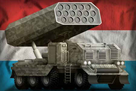 rocket artillery, missile launcher with grey camouflage on the Luxembourg flag background. 3d Illustration Stok Fotoğraf