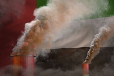 dense smoke of factory pipes on United Arab Emirates flag - global warming concept, background with place for your  - industrial 3D illustration Stock Photo