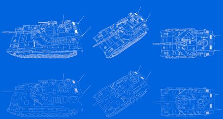 Military 3D Illustration of blue print schema - outlined isolated 3D miltary tank with fictive design, detailed tank forces concept Stok Fotoğraf