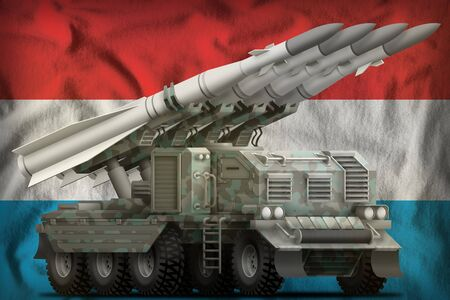 tactical short range ballistic missile with arctic camouflage on the Luxembourg flag background. 3d Illustration Stok Fotoğraf